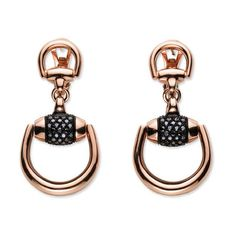 Gucci Horsebit Black Diamond Rose Gold Earrings ($4,800) ❤ liked on Polyvore featuring jewelry, earrings, gucci, gucci jewelry, gucci earrings, pink earrings and black diamond jewelry