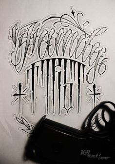 CRIMINAL LETTERING TATTOO