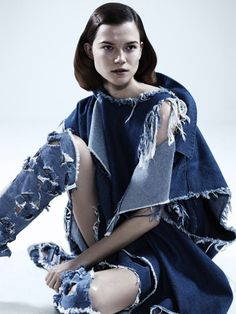 Top model Kasia Struss clad in denim takes the pages of Dazed & Confused with Josh Olins' shoot styled by Robbie Spencer (Intrepid London). Denim Fashion, Fashion Art, Editorial Fashion, Fashion Design, Fashion Ideas, All Jeans, Love Jeans, Ripped Jeans, Denim Ideas