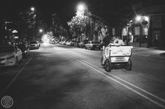 Bride and Groom leaving on a Rickshaw at 128 South in Wilmington, NC// Photo by International Wedding Photographer Aaron and Jillian Photography // Charleston wedding photography