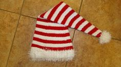 Free Crochet Candy Cane Hat Pattern.