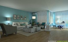 Blue harmony in Living Room, Family Room, Bedroom, Bathroom, Kitchen