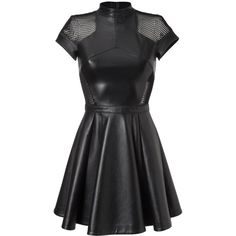 """dress """"competent"""" (60.355 CZK) ❤ liked on Polyvore featuring dresses, flared skirt, evening dresses, circle skirt, leather skater skirt and leather dress"""