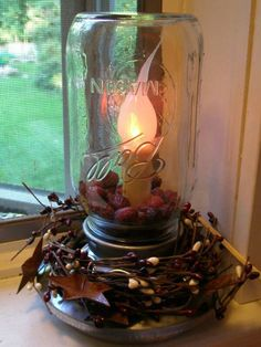 Chicken feeder base, batt operated candle, mason jar, and some berries!