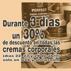 Tres días con un 30% de #descuento en nuestras cremas corporales. ¡Aprovecha! #oferta #cosmeticanatural #crueltyfree #sinparabenes #noparabens #sinsiliconas #nosilicones