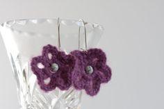 Lilac Flower Crochet Jewelry Set Boho by Myhandmadepassion on Etsy, $16.90