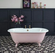 Loved styling this petite millbrooke pink bath painted in Mylands limited edition Blush. The small bath is super cute but the colour is awesome too. Pink Tub, Pink Baths, Pink Bathroom Tiles, Bathroom Sets, Small Bathrooms, Bad Inspiration, Bathroom Inspiration, Pink Bathroom Accessories, Cast Iron Tub