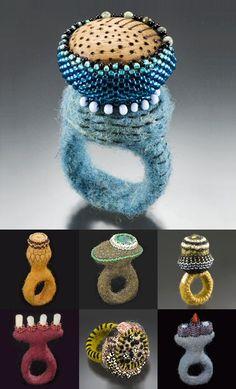 sculptural felted Merino rings by Strong Felt (North Carolina's Lisa Klakulak)