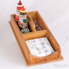 Wooden Tabletop Flatware and Napkin Caddy - Centre Handle and Three Compartments