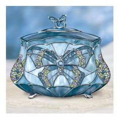 Butterfly Music Box, Tiffany-inspired Stained Glass Design! Porcelain with Crystalline Gems and Platinum #glass