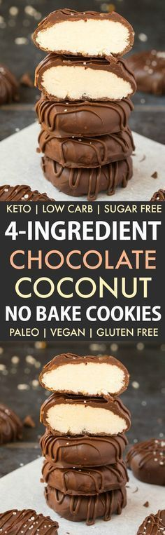 4 Ingredient Paleo Vegan Chocolate Coconut Cookies (Keto, Sugar Free, No Bake) To make this Candida diet friendly use erythritol or xylitol and sugar-free chocolate chips like Lilly's brand. #recipe #healthyrecipe #sugarfreedessert