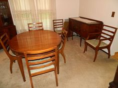 Contents of Dining Room including Dining room Table, 6 Chairs (2 Arm), Sideboard, China Closet, Kling Mahogany 6 Drawer Tall Chest, Pine End Table, Table Lamp, Syracuse China service for 6 Federal Shape, Marietta Pattern, Assorted Glass & China.