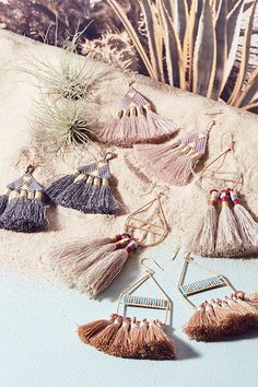 Slide View: 3: Tri Tassel Earrings