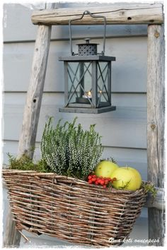 The Little Corner French Baskets, Fall Planters, Little Corner, Candle Lanterns, Candles, Rattan Basket, Christmas Mood, Back Patio, Flower Basket