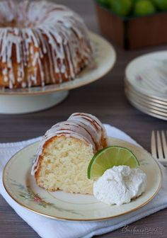 Key Lime Pound Cake recipe from Barbara Bakes. The cake has a mild key lime flavor, but the tart glaze gives it a great burst of lime flavor...