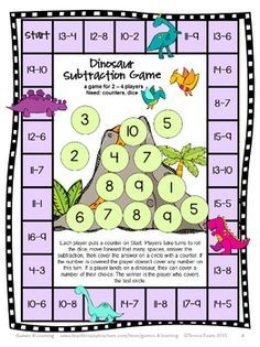 Dinosaur Math Subtraction Games Freebie: Subtraction Math Board Games - FREEBIE – Subtraction Board Games Freebie by Games 4 Learning contains 2 Printable Subtraction Bo - Math Board Games, Math Boards, Fun Games, Word Games, Party Games, Subtraction Activities, Math Activities, Numeracy, Maths Games Ks1
