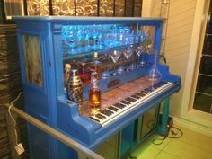 An old piano I converted into a bar.