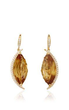 18k yellow gold, citrine and diamond drop earrings by JORGE ADELER for Preorder on Moda Operandi