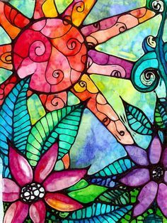Art Print 5 x 7 original design sun flowers leaves watercolor stained glass look floral. $10.00, via Etsy.