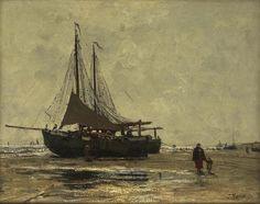 Jacob Maris (Dutch 1824-1911) Beached fishing vessels