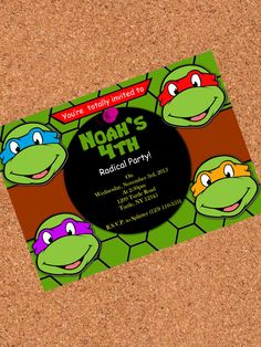 PRINTABLE INVITATION, Teenage Mutant Ninja Turtles Invitation , TMNT Invite , Turtles Birthday on Etsy, $5.00