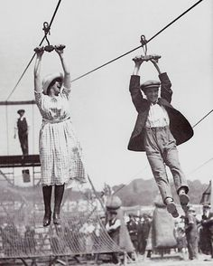 """A joyful life is an individual creation that cannot be copied from a recipe.""  - Mihaly Csikszentmihalyi     (A zipline date, c. 1920s)"