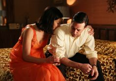 Mad Men Season 6 Episode 5 -Depressed Don being consoled by wife Megan