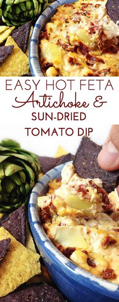 Hot Feta Artichoke & Sun-Dried Tomato Dip. Goes fast! Goes fast! Sun-dried tomatoes, artichokes, feta and garlic combine for a creamy and addictive appetizer dip. Serve hot with bagel chips, tortilla chips or plain crackers.