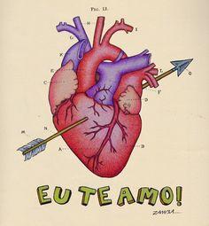 """Coração Natural """" Eu te amo """" -Zamba - Lápis de cor e caneta esferografica."""