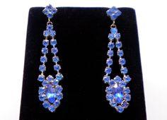 Blue Rhinestone Drop Vintage Pierced Earrings