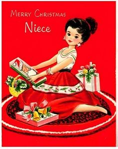 Vtg Gibson Christmas Card Niece Pretty Girl W Christmas Gifts Embossed 1957 Vintage Greeting Cards, Christmas Greeting Cards, Christmas Greetings, Holiday Cards, Merry Christmas, Christmas Scenes, Christmas Girls, Christmas Christmas, Vintage Christmas Images