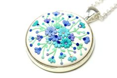 """Mint Purple White Floral Pendant Necklace """"Winter"""" with Floral Embroidery One of a Kind Jewelry Delicate Earrings Polymer Clay Applique"""