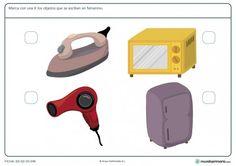 Ficha de objetos en femenino para niños de primaria