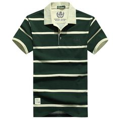 51f031eaee Casual Stripe Cotton Polo Tees Turn-Down Collar Short Sleeve Plus Size  T-Shirt For Men