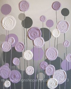 Grey and Purple Modern Nursery Art,  Impasto 16x20 Acrylic on Canvas, Made to Order