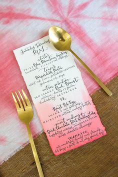 Dip Dyed Ombré Watercolor Table menu cards (set of 10)