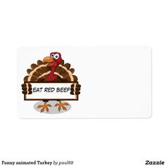 Funny animated Turkey Label