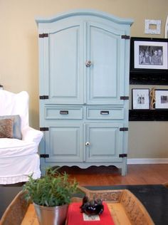 Painting pine with knots--exactly the armoire and color (or creamy white--add cut glass knobs!)