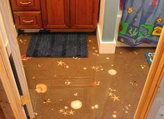 Sand and sea shell bathroom floor!  Love it!  Via Jamiecooksitup.net