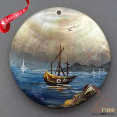 HAND PAINTED SAIL BOAT MOTHER OF PEARL SHELL NECKLACE PENDANT ZL30 06393 #ZL #PENDANT