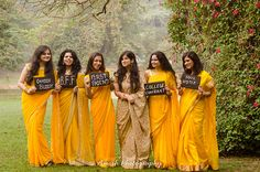 Create memories with your BFF– Bridesmaids photoshoot Ideas WE LOVED! - Wedding Information 2020 Bridesmaid Saree, Indian Bridesmaids, Yellow Bridesmaids, Brides And Bridesmaids, Bridesmaid Poses, Indian Wedding Photography Poses, Indian Wedding Photos, Bride Photography, Indian Bridal
