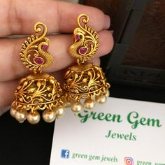 Restocked and sold 🙈❤️ For details - direct message / what's app Gold Jhumka Earrings, Indian Jewelry Earrings, Jewelry Design Earrings, Gold Earrings Designs, Antique Earrings, Jewelry Bracelets, Gold Necklace, Gold Bangles Design, Gold Jewellery Design