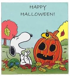 Snoopy and Woodstock With Jack-o-Lantern - Happy Halloween Snoopy Halloween, Charlie Brown Halloween, Great Pumpkin Charlie Brown, Fröhliches Halloween, Charlie Brown And Snoopy, Halloween Quotes, Halloween Pictures, Holidays Halloween, Snoopy Und Woodstock