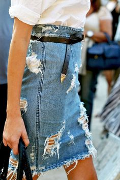 love this distressed jean high waisted skirt