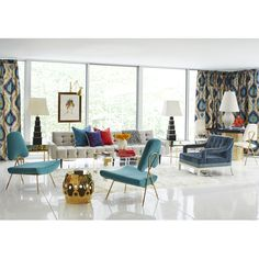 Love these striking curtains.  So bold and yet they blend right into the room.  #jonathonadler