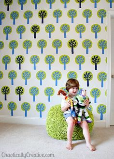 Customize your own wall stencil, this one inspired by Ikea fabric.  www.chaoticallycreative.com