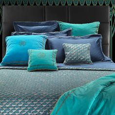 Featuring gorgeous shades of blue on a quilted texture, the Antille quilted bedspread adds character and luxury to your space, as well as coordinates beautifully with pieces such as the Venice Cushion from the Roberto Cavalli Home collection.
