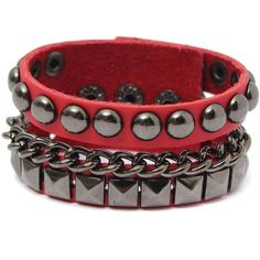 Punk Metal Rivet Studded Leather Cuff Bracelet ($5.13) ❤ liked on Polyvore featuring jewelry, bracelets, hinged cuff bracelet, metal jewelry, punk jewelry, punk rock jewelry and cuff bangle