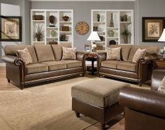 The Tampa Truffle Is A Gorgeous Sofa And Loveseat Set With Traditional  Stylings, Including Wood Detailing, Decorator Feet, And Rolled Arms. American  Freight ...