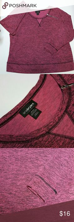 Lane Brayant Light Sweat Top Pink Women's Lane Bryant Pink Heather Top Can be styled as a light Sweater pull over with Black or Blue Jeans or as Light Fashionable Athleisure  68% Cotton  32% Polyester Size 18/20*****on Tag***** Can be worn as a 14 or16 loosely and still rocks Cute Zipper design on 1 side Can be worn in Spring or cool 60's Summer nights Gorgeous Pink Heather Marled Color Washed/ Ironed Excellent Condition! Like New Lane Bryant Tops